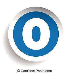 Number Zero sticker vector blue