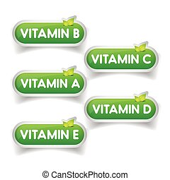 Vitamins button set vector