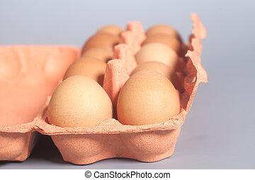 papelão, ovo, caixa, com, Marrom, ovos, ligado,...