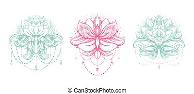 Vector ornamental Lotus set