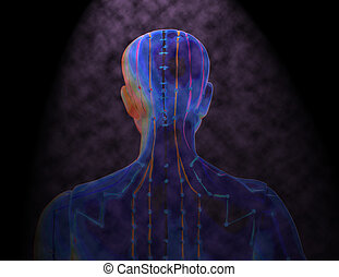 Medical acupuncture model of human on black background -...