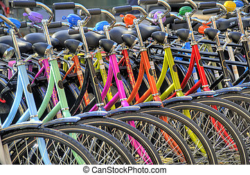 bicycles hdr - colorful bicycles in amsterdam hdr