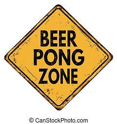 Beer pong zone vintage metal sign - Beer pong zone vintage...