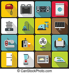 Household appliances icons set, flat style - Household...