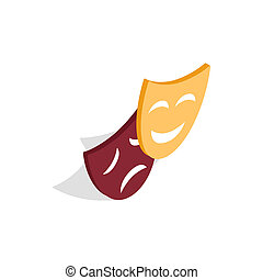 Comedy and tragedy theatrical masks icon - icon in isometric...