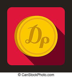 ícone, apartamento, estilo, dracma, moeda