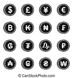 Currency from different countries icons set in simple style....