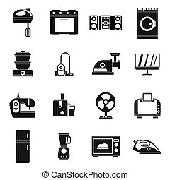Household appliances icons set, simple style - Household...