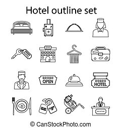 Hotel icons set, outline style - Hotel icons set in outline...