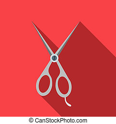 Steel scisors icon in flat style - icon in flat style on a...