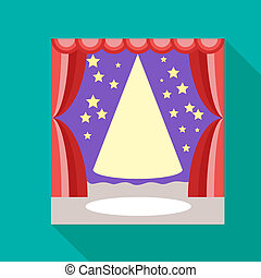 Empty scene with stage curtain icon, flat style