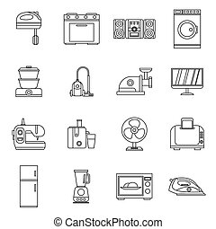 Household appliances icons set, outline style - Household...