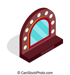 Mirror with bulbs for makeup icon in isometric 3d style on a...
