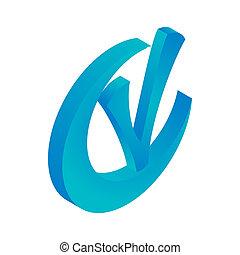 azul,  isometric, estilo, marca, ícone, círculo, cheque,  3D