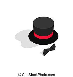 Black top hat and bow tie icon, isometric 3d style - icon in...