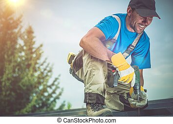 Happy Construction Worker Smiling While Working on Wooden...