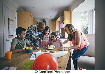 Happy birthday to you! - Family of five celebrating the sons...