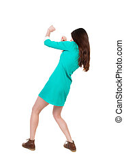 skinny woman funny fights waving his arms and legs. Isolated...