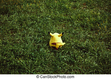 Victory Park in Poltava, Ukraine,plush doll Pikachu. Toy...
