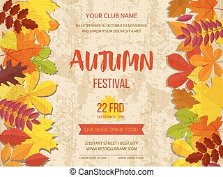 Autumn festival background. Invitation banner with fall leaves. Vector illustration