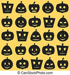 Seamless Halloween Scary Pumpkin Pattern - Seamless...