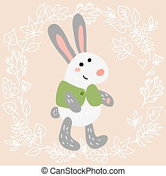 Cute rabbit on leaves background vector illustration
