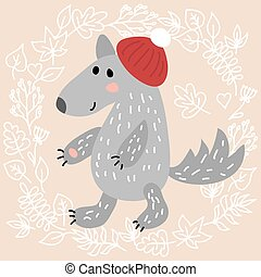 Cute wolf on leaves background vector illustration