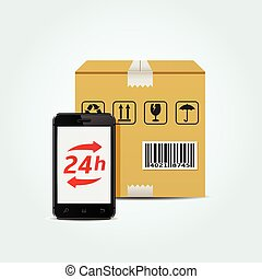 24h Delivery Service. Cardboard box and smart phone with 24...