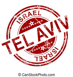 Red Tel Aviv stamp with white background, 3D rendering