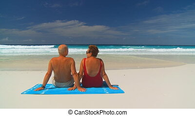 elderly couple on beachtowel - back view of senior couple...