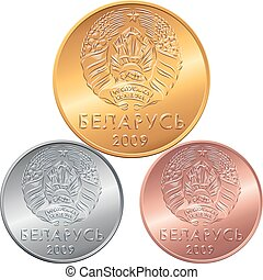 Set obverse new Belarusian Money coins - vector obverse new...