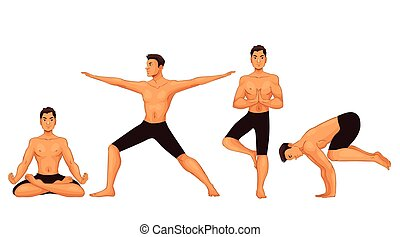 Set with handsome young man in various poses of yoga
