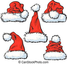 Set of red Santa Claus hat isolated on white background -...