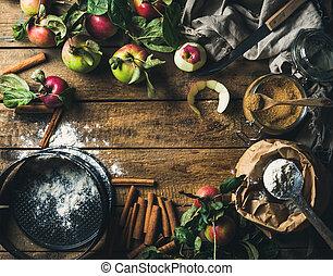 Äpple, ingredienser, Trä, över, Matlagning, pastej, Rustik,...