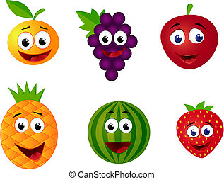 frukt, tecknad film