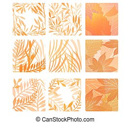 Set of square shapes with autumn leaves and herbs. Vector design elements.