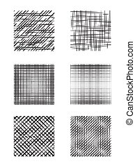 Set of square shapes with hatching.