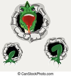 Dragon from hole - The Green dragon peers out torn hole in...