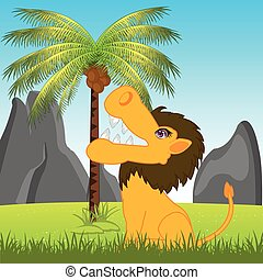 Lion in africa on glade - The Animal lion on glade under...