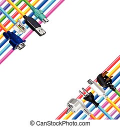 Colorful cables and plugs in corners isolated vector -...