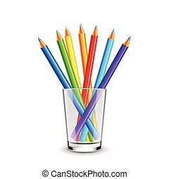 Colorful pencils in glass isolated on white background