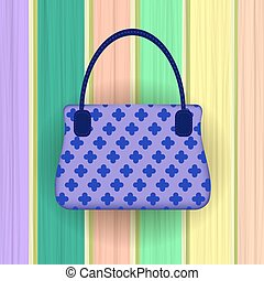 Blue Modern Womens Handbag on Colorful Planks Background.