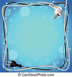Frame from cables on blue background