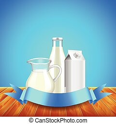 Milk with ribbon for text on wooden table, blue background...