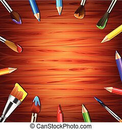 Paint brushes and pencils on wooden background vector