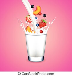 Pouring milk into glass and falling fruits on pink background