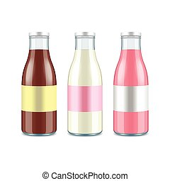 Three glass milk bottles. Chocolate, classic and strawberry...