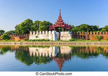 Mandalay Palace Moat - Mandalay, Myanmar at the palace wall...