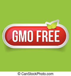 GMO free icon vector button