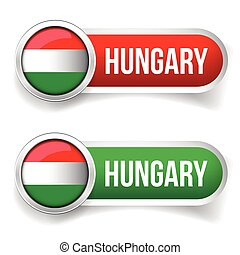 Hungary button set vector
